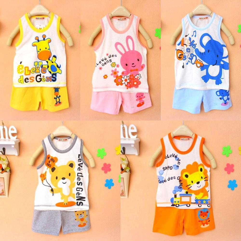 New Baby Children Clothing Set T-shirts Girls Boys Tshirt Pants Undershirt Shorts Kids Pajama Set(China (Mainland))