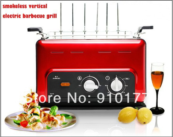 portable stainless steel vertical smokeless electric meat mini grill machine home indoor,with bbq accessory, red 035(China (Mainland))