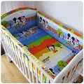 Promotion 6PCS Mickey Mouse bed linen crib bedding set Cot Baby bedding set 100 cotton baby