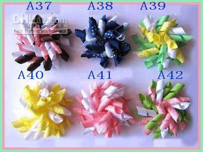 hjk Children's curlers bows flowers hair barrettes Children's korker ribbon hair clip 300pcs/lot(China (Mainland))