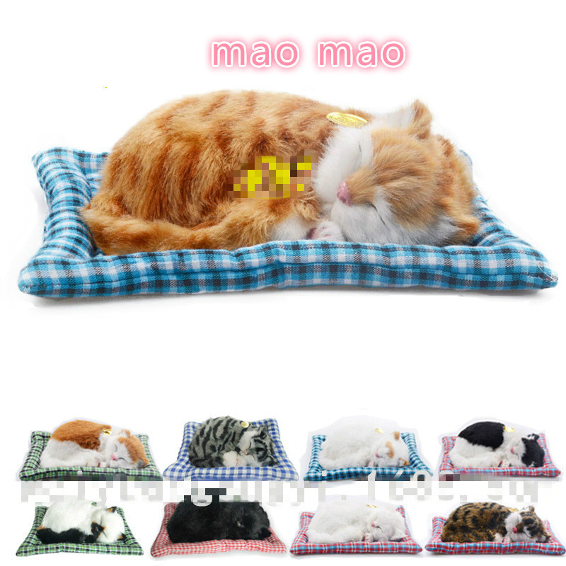 New Hot Sale Sleeping Simulation Cat Super Cute Emulational Cat Craft Toy with Sound 8 Styles Gift for Kids child 20CM(China (Mainland))