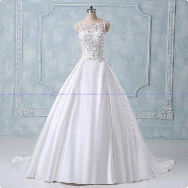Бальное платье свадебные платья 2015 новый фактическое изображение аппликации крышки-рукав ...