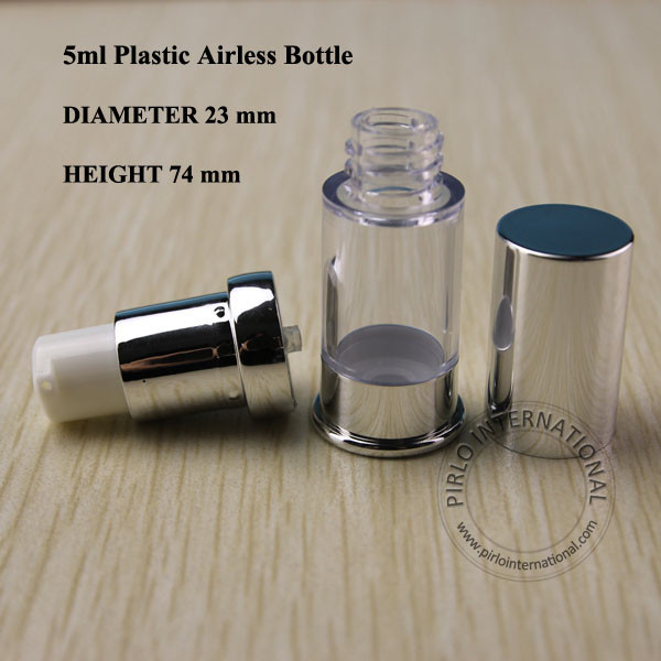 5ml Bright Silvery Emulsion Airless Vacuum Bottle Lotion Pump Spray Refillable Fragrance Bottle Cosmetic Container 100pcs/lot(China (Mainland))