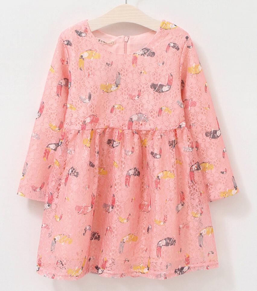 New 2016 fashion elegant Hand-painted drawing baby girls holiday dress,Children clothing,birds lace pink princess girl dresses(China (Mainland))
