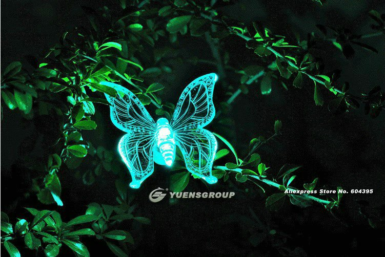 Free shipping,Butterfly Garden Solar Led Light,Landscape outdoor light,YM035(China (Mainland))