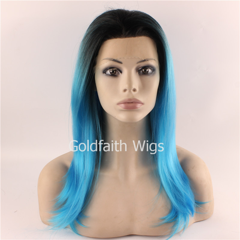 Free Shipping Two Tone Ombre Blue Green Lace Wig Heat Resistant Fiber Celebrity Synthetic Lace Front Wig<br><br>Aliexpress