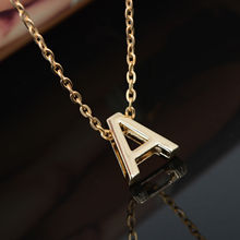 DIY 26 Letter Charm Pendant Necklace Women Simple Clavicle Chain Necklace Gold Plated Choker Colar Collier Jewelery Storm(China (Mainland))