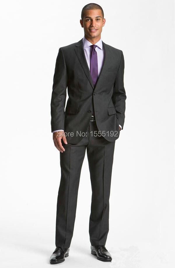 2015 custom made fashion grey men's suit business suits tuxedos Gentleman men's dress Personality Wool polyester blend groom sui(China (Mainland))