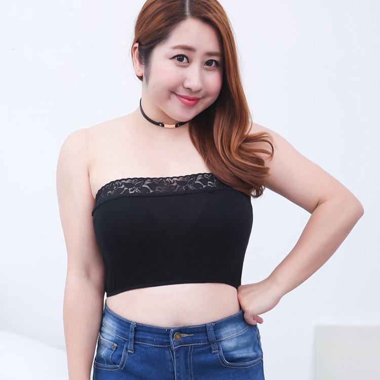 2017 New Sexy Black and White Lace Top Plus Size XXXL Tube Top Women Underwear Sexy bandeau for Women Fat Modal Tube Top Bra