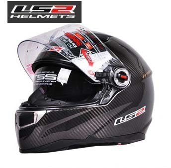 2015  new dual lens LS2  Motorcycle Helmets / carbon fiber material warm winter full helmet free shipping
