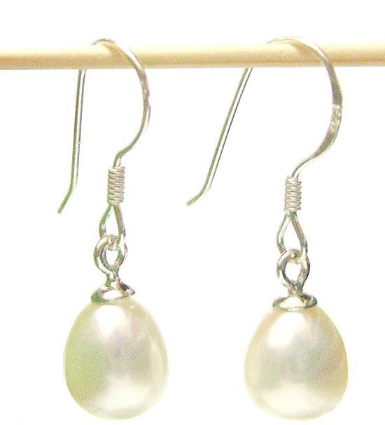 Free Shipping 10Pair/Lot Fashion Pearl Earrings & Silver Hook For Gift Craft Jewelry White C0*