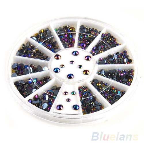 300 prego 3D dicas Art gemas cristal Glitter Rhinestone DIY decoração + roda 0BS3