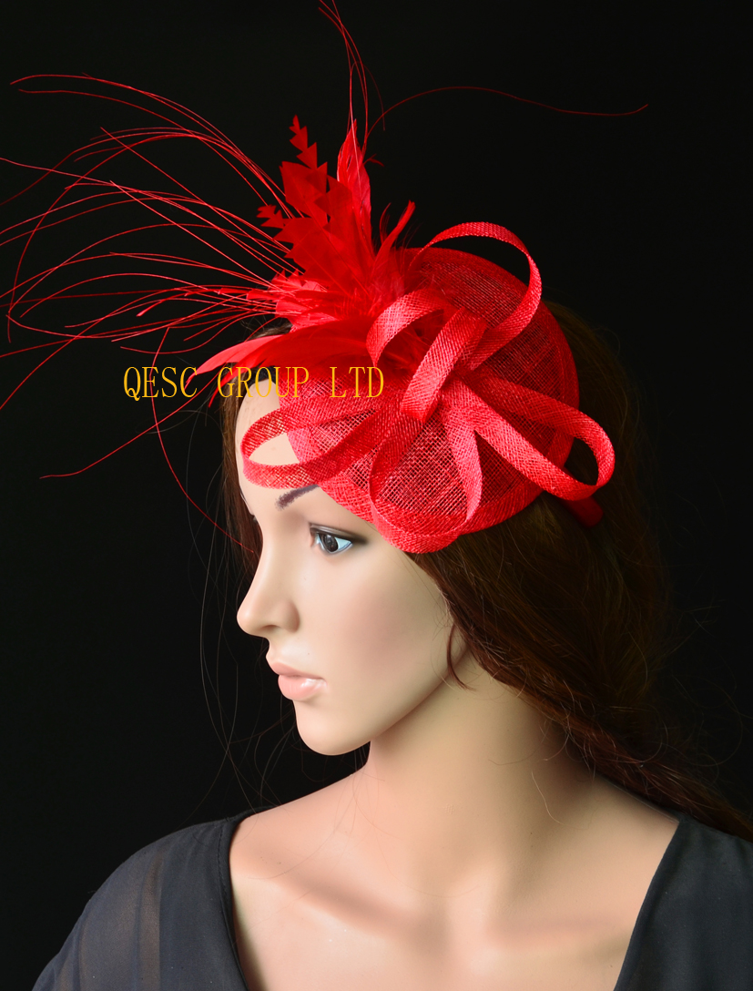 Red base feather fascinator sinamay hat wedding hat for Ascot Races Kentucky derby Tea Party.(China (Mainland))
