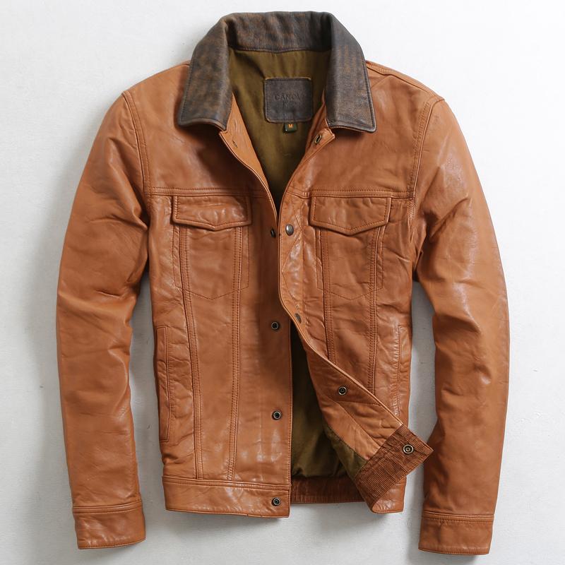 Здесь можно купить  2015 Spring models Men Lapel Short paragraph Sheep skin Leather leather Men