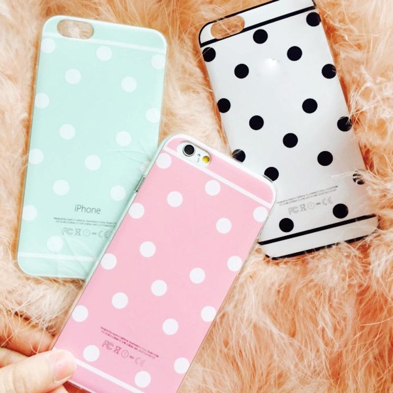 Гаджет  Wholesale/Retail Cute Candy Colors Back phone Case for iphone 6 4.7 inch Fashion Soft TPU Polka Dot cell phone accessories  None Телефоны и Телекоммуникации