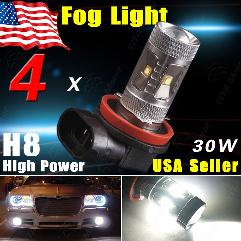 4Pcs H8 Led Car HID Xenon White Carro Auto Light 30W H8 High Power Projecter Lens LED Bulbs Fog Driving DRL Light for BMW -CE(China (Mainland))