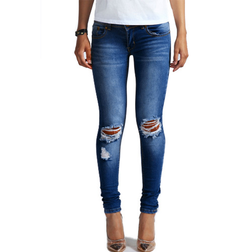 1884 New 2015 Hot Fashion Ladies Cotton Denim Pants Stretch Womens Bleach Ripped Knee Skinny Jeans Denim Jeans For Female(China (Mainland))