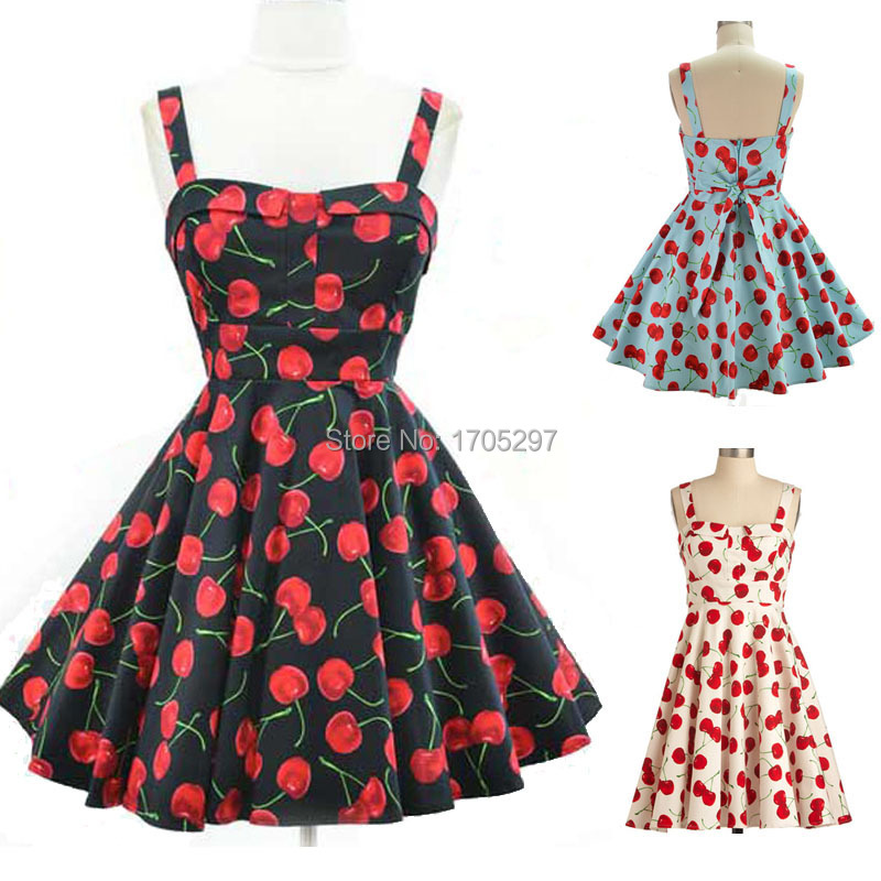 2015 Audrey Hepburn Vestidos women Summer Costume Retro Rockabilly 50s 60s Vintage Red Cherry Fruit Print Swing Dress