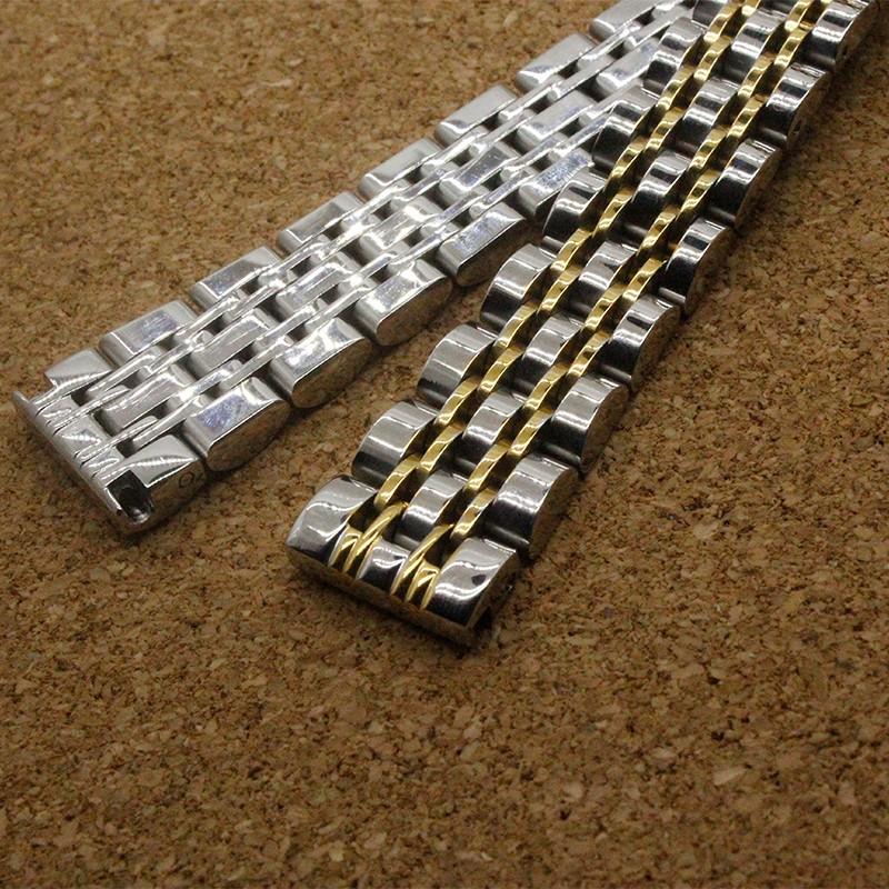 Серебро С Золотом 14 мм 16 мм 18 мм 20 мм 22 мм Из Нержавеющей стальной Браслет Металлический Плоский Конец Смотреть Группы Кварцевые Часы Ремень аксессуары