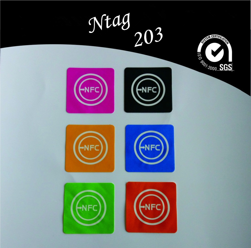6pcs/lot Smart Ntag203 uhf Rfid Tag Sticker for Sony HTC&Compatible with All Others NFC Android Phone,NFC-56,Free shipping(China (Mainland))
