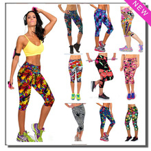Hot Brand New Capris Outdoor Women Sports Leggings Workout High Waist Floral Printing Fitness Casual Gym Running Wear Super Soft(China (Mainland))