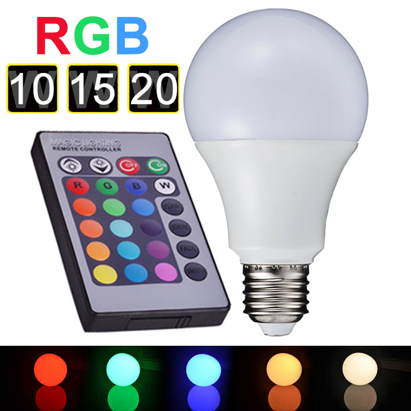 HOT Selling LED RGB Lamp E27 10W 15W 20W 90-260V RGB LED Bulb Light Colorful Lighting Remote Control RGB Lampara Luz LED A65-80(China (Mainland))