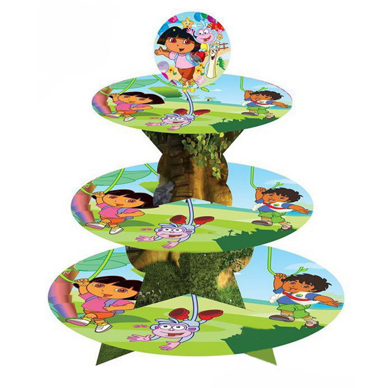 1set Dora Cartoon 3-tier cake stand baby shower supplies girl kids birthday party decoration cupcake stand hold 24 cupcakes(China (Mainland))