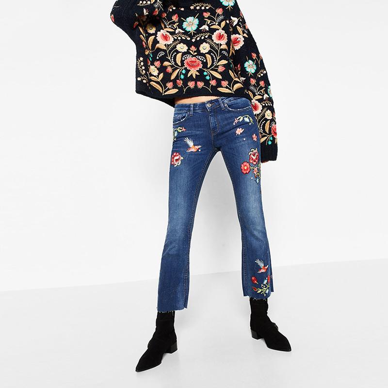 dark blue sexy Denim bell-bottom Women high waist Jeans flowers embroider little floral blue s m l perfume 212 bsk mom jeans(China (Mainland))