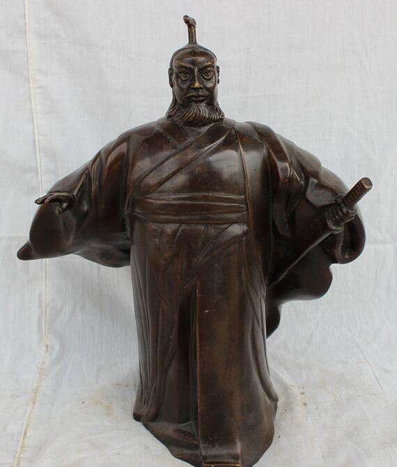 """song voge gem S3108 11"""" Chinese Bronze Great Warrior Dynasty First Emperor of Qin Shi Huang Statue(China (Mainland))"""