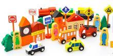Entrega gratuita tren magnético escena tráfico ciudad bloques de construcción de tráfico, niños bloques de madera de juguete, juguete del bebé regalo de cumpleaños