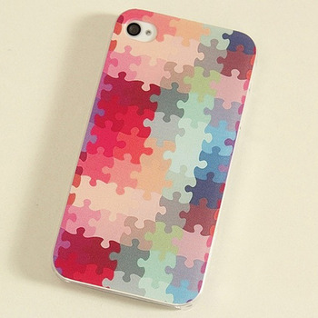 phone cases elegant Special Design Multicolour colored drawing puzzle for iphone 4 4s 4 5g 5 5S phone protective case