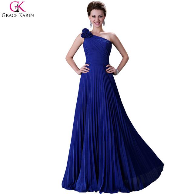 Одно плечо вечерние платья 2016 грейс карин шифон зеленый-пурпурный синий халат де ...