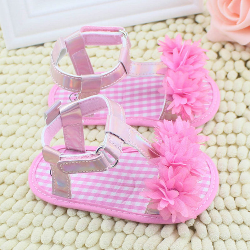 2015 New Fashion Hot Selling Baby Girl Floral Summer Sandals Crib Soft Sole Non slip Princess