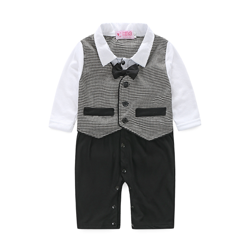 Long Sleeve Baby Boys Rompers Infant Gentleman Jumpsuit New Born Baby Clothes Boy One Pieces Romper Spring Baby Costume CF353(China (Mainland))