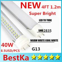 Hot CE UL Super Brightness LED Tube 4ft T8 Tube Light 40W Warm White AC100-277V Epistar SMD 2835 Fedex Express Free Shipping(China (Mainland))