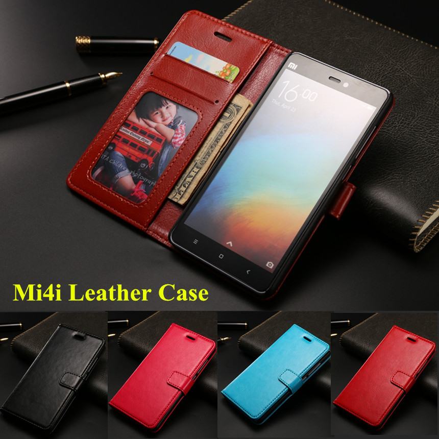 Free tempered glass xiaomi mi4i leather case mi4c flip case with wallet stand card holder back