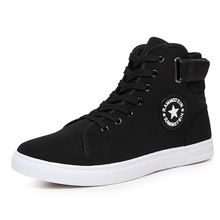 High Quality Men Canvas Shoes 2016 Fashion High top Men's Casual Shoes Breathable Canvas Man Lace up Brand Shoes Black ZH307(China (Mainland))