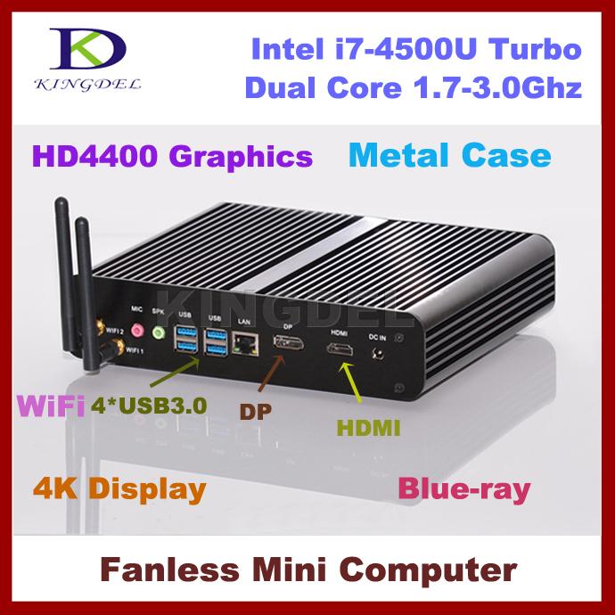 DHL free 8G+64G HDD+1T HDD HTPC Portable Computer Fanless System Mini PC with Intel Core i7 4500U/4550U/4650U CPU, 4K DP(China (Mainland))