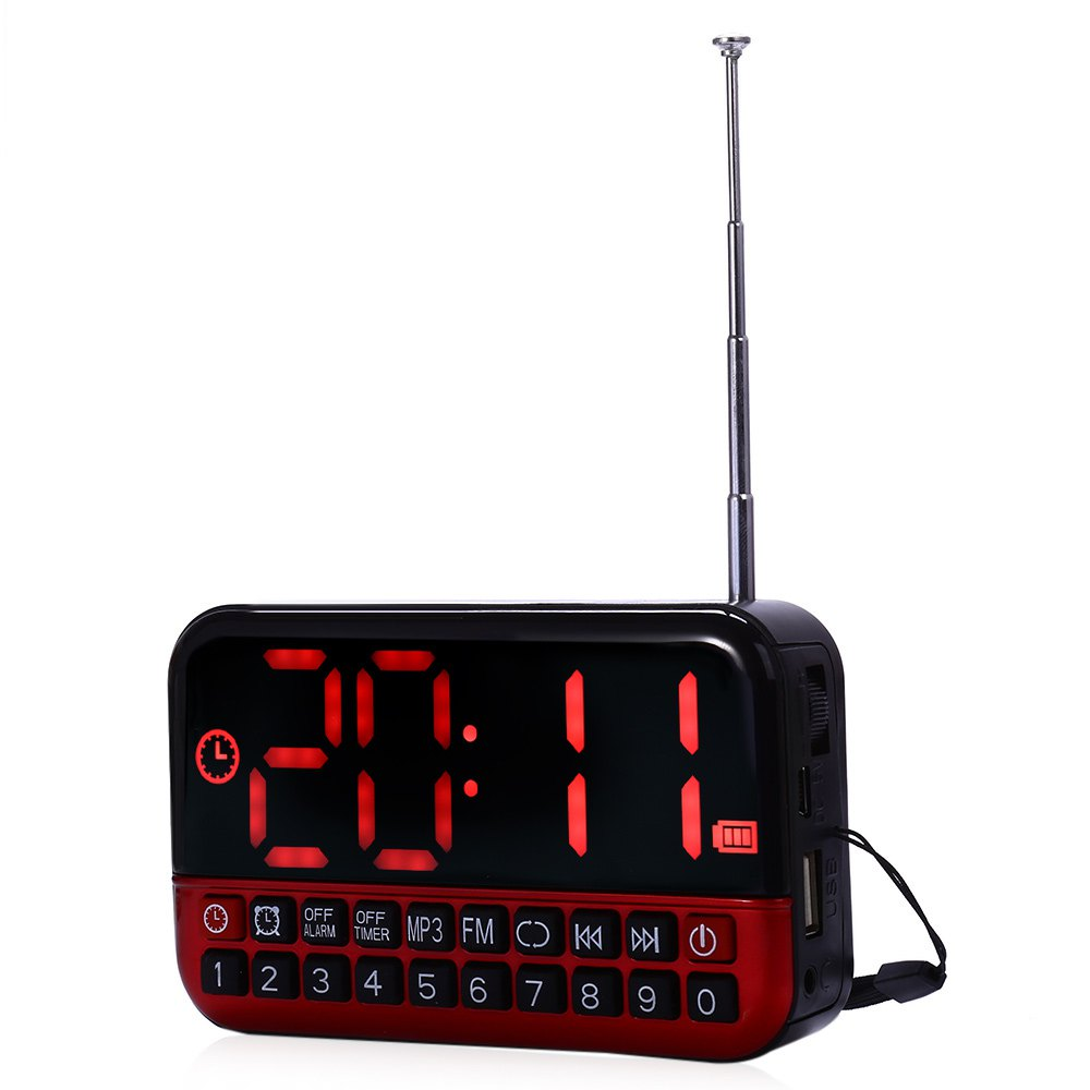 HUSOAR HD LCD Screen Personalized Portable Multi-functional LED Alarm Clock Radio Card MP3 Speaker Support Power and Memory(China (Mainland))