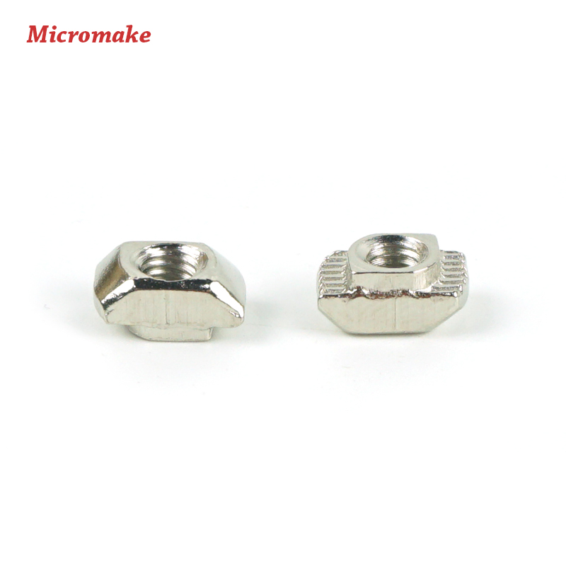 Micromake 3D Printer Parts 50pcs/lot M3/M4 Carbon Steel T type Nuts Fastener Aluminum Connector For 2020 Industrial Profile(China (Mainland))