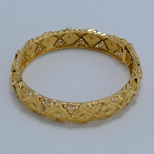 6 СМ эфиопии браслет женщин 18 К желтый позолоченные ювелирные изделия оптовая невесты ...
