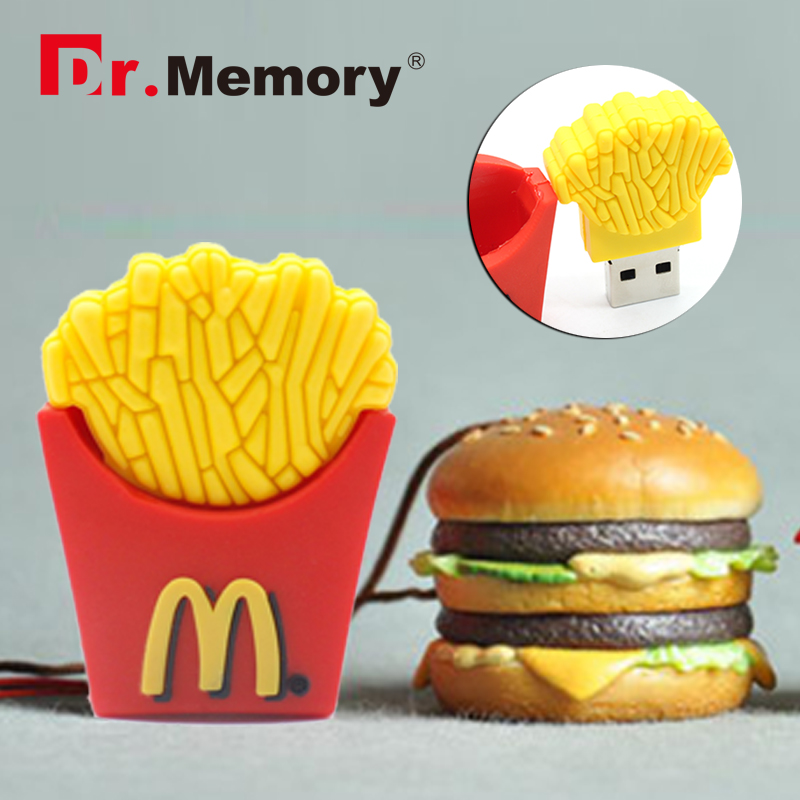 funny 4GB 8GB 16GB 32GB Cute Memoria French Fries Shape USB Flash Drive pendrive chips Car Key Memory Stick Pen Drive(China (Mainland))