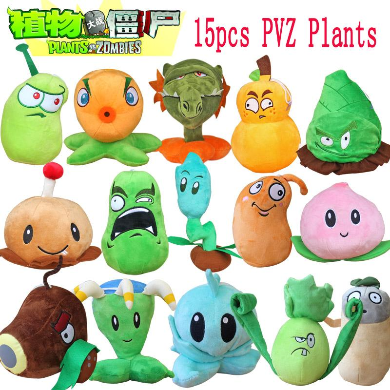 1pcs Plants Vs Zombies Stuffed Plush Toys Doll Plants Vs Zombies 2 15-20cm Plants Soft Plush Toy for Kids Party Toys 15 Styles(China (Mainland))