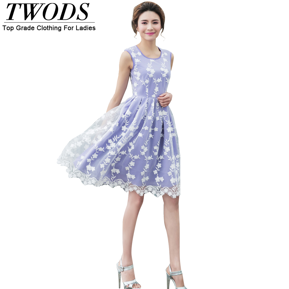 Twods 2016 New Embroidery Lace Women Summer Dress Knee Length Sleeveless O-neck Pleated Young Girl Party Dresses Plus Size 4XL