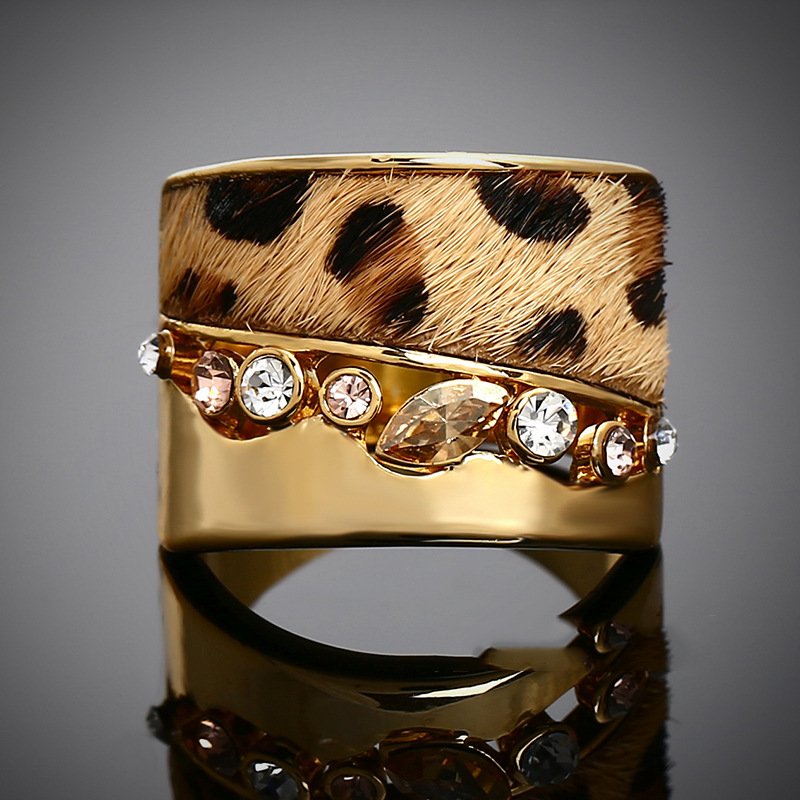 Hot! New 2014 Fashion Exaggerated Luxury Shine SGLOVE 18K Yellow Gold Filled Leopard Print Fur Cubic Zirconia Ring Free Shipping(China (Mainland))