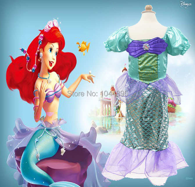 New 2015 Kids Costumes Girls Cospaly Dresses the little mermaid Ariel Princess Costume,fantasia infantil,halloween,christmas(China (Mainland))