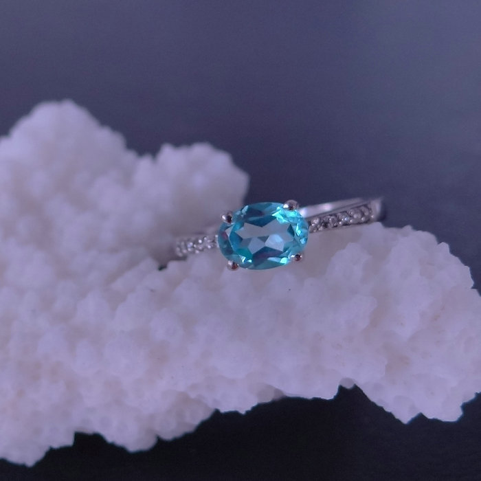 Natural Crystal 925 sterling silver inlaid colored gems London female Topaz Ring female Sapphire<br><br>Aliexpress
