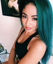 Ombre Turquoise Green Teal Silk Straight Synthetic Lace Front Wig Glueless Natural Black/Green Heat Resistant Hair Wigs New(China (Mainland))