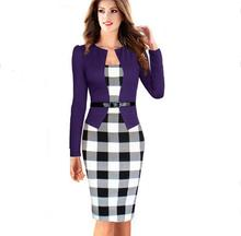 2017 purple Elegant Tunic Knee Length Tartan Vestido Women Dress Office Female Work Dress S – 3XL Slim Bodycon Pencil Dresses
