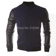 New Men 2015 Sweater PU Leather Collar Sweater Personalized Baseball Stitching Clothes Man Jacket Plus Size